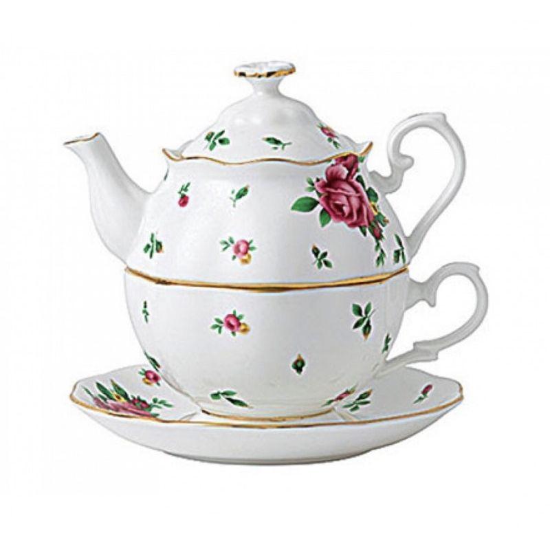 """Набор: Чай на одного (чайник, чашка и блюдце) Винтаж """"Белые Розы Нью Кантри"""" Royal Albert"""