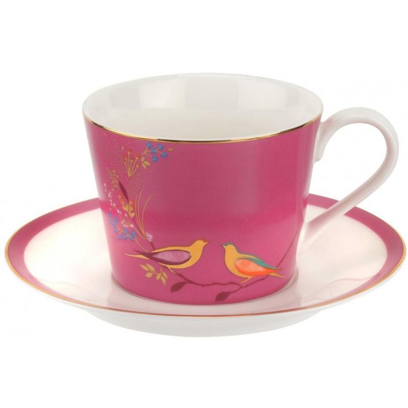 """Чашка чайная с блюдцем 200мл """"Сара Миллер. Челси"""" (розовая)"""