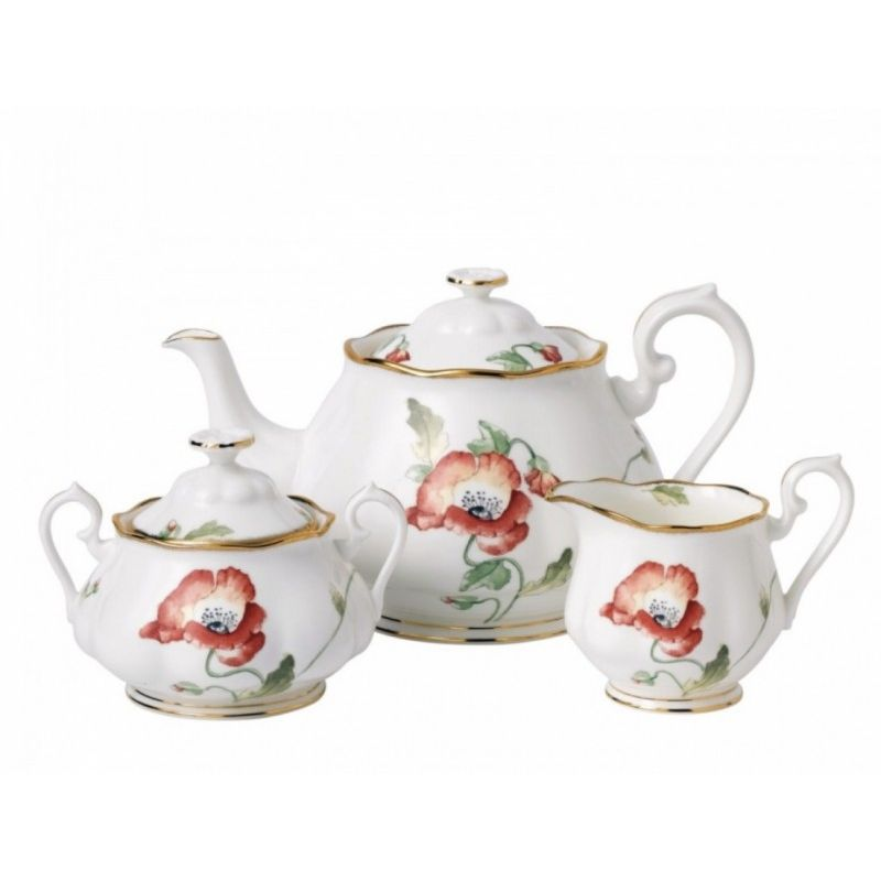 "Набор: чайник, сазарница и молочник ""Мак"" 100 Years Of Royal Albert (1970)"