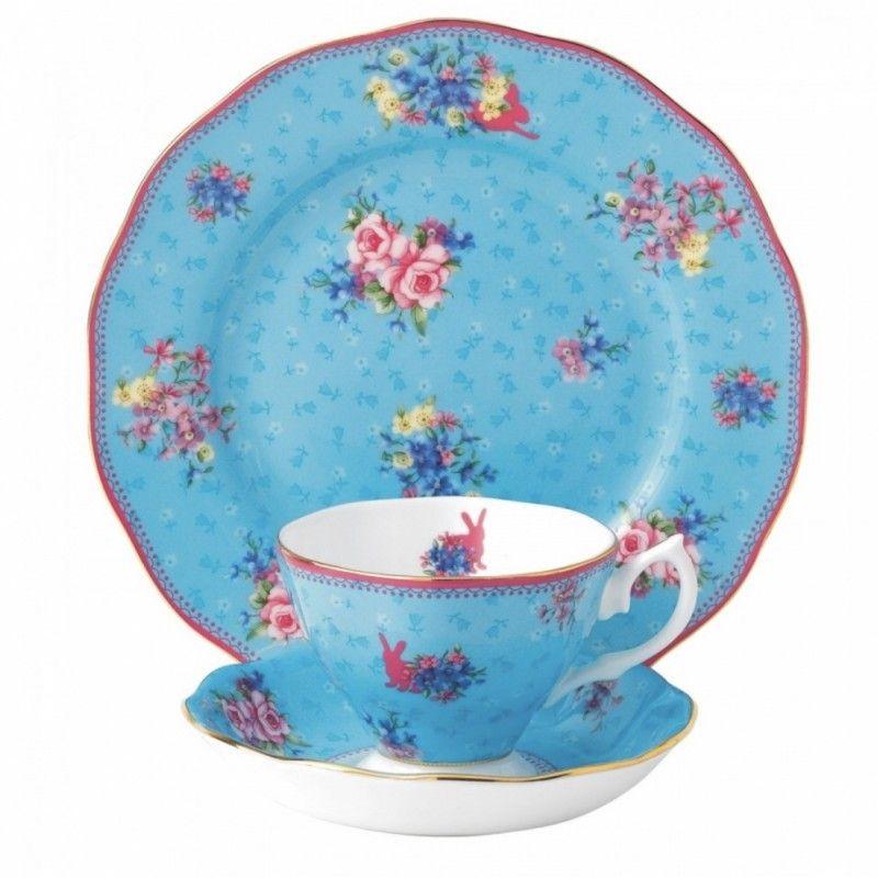 """Чайная тройка """"Милый кролик"""" (чашка, блюдце и тарелка 20 см) Royal Albert"""