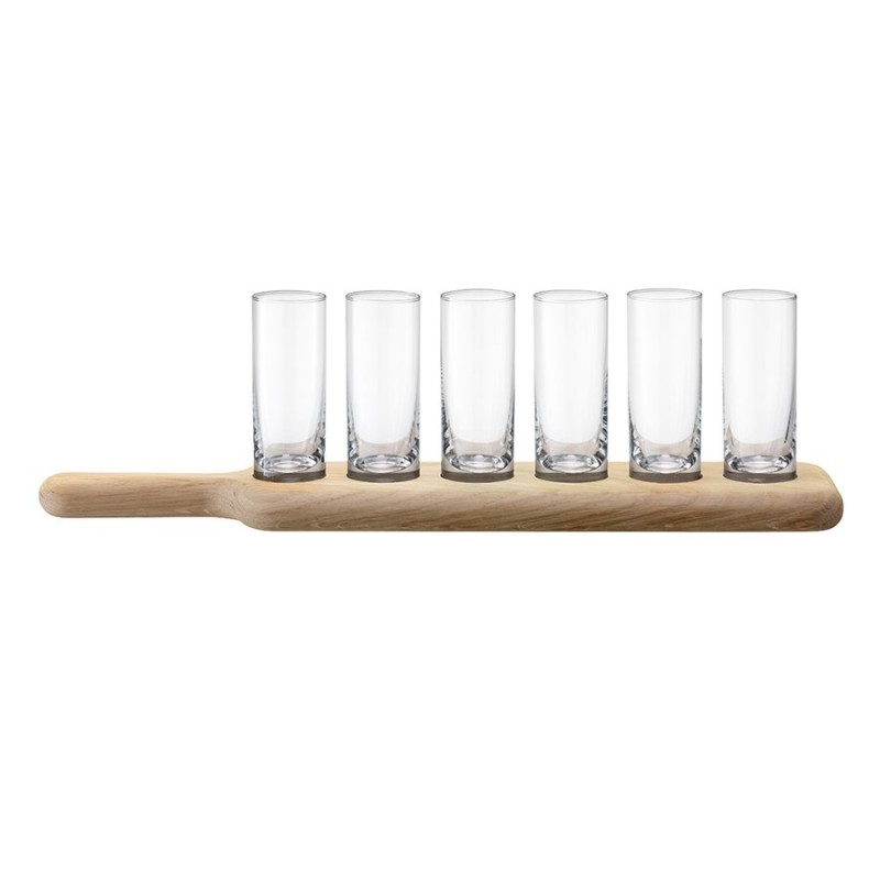LSA Набор из 6 стопок и деревянной подставки paddle 40 см прозрачное стекло