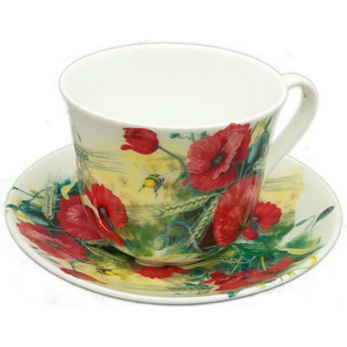 Чайная пара для завтрака Маковое поле 500мл