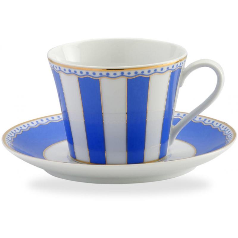 """Чашка чайная с блюдцем 240мл """"Карнавал"""" (синяя полоска) п/к"""