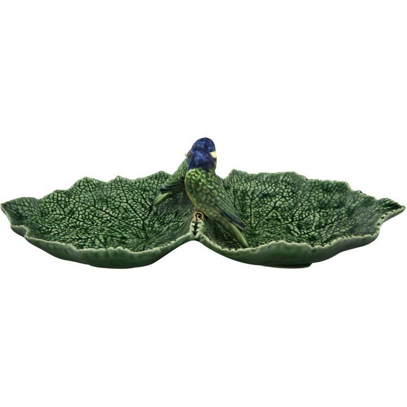 """Блюдо двухсекционное Bordallo Pinheiro """"Листья"""" 34см (с двумя синими птичками)"""