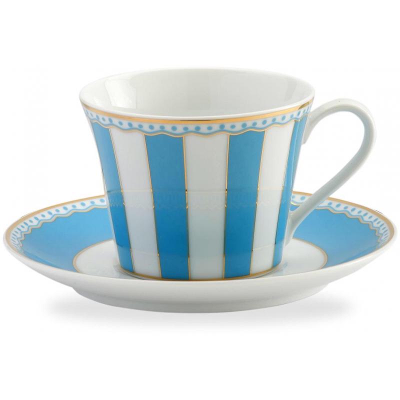 """Чашка чайная с блюдцем 240мл """"Карнавал"""" (голубая полоска) п/к"""