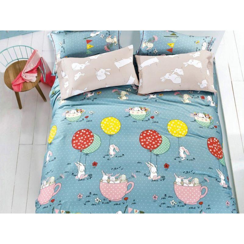 Комплект постельного белья 1,5-спальный, печатный сатин 912-4S