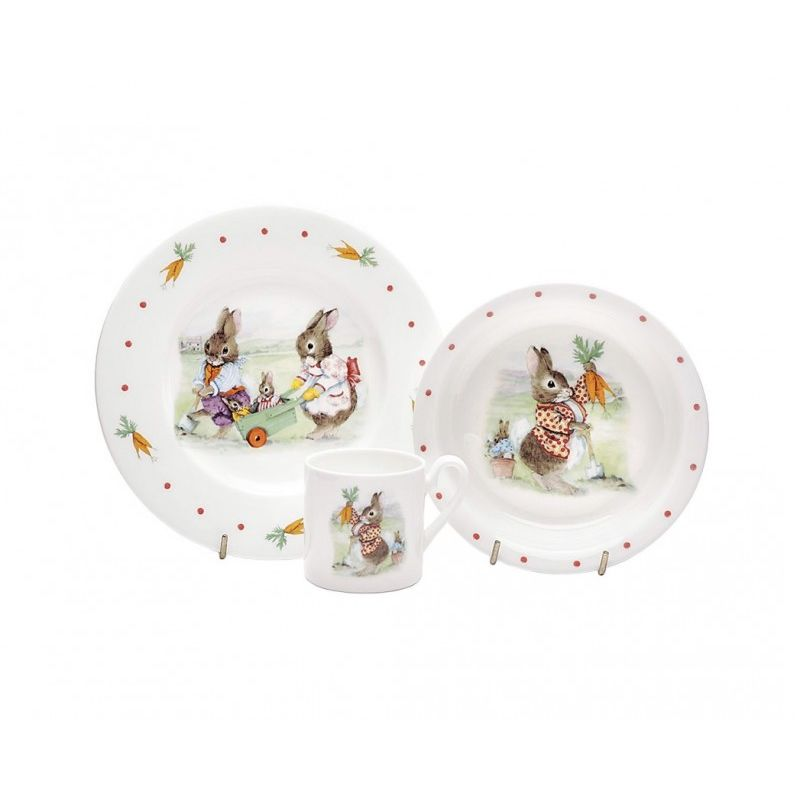 Кролики (набор 3 пр салатник, тарелка, чашка)