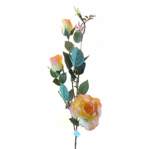 Роза Эльдорадо 3 ветки кустовая оранжевая живое прикосновение 85 см