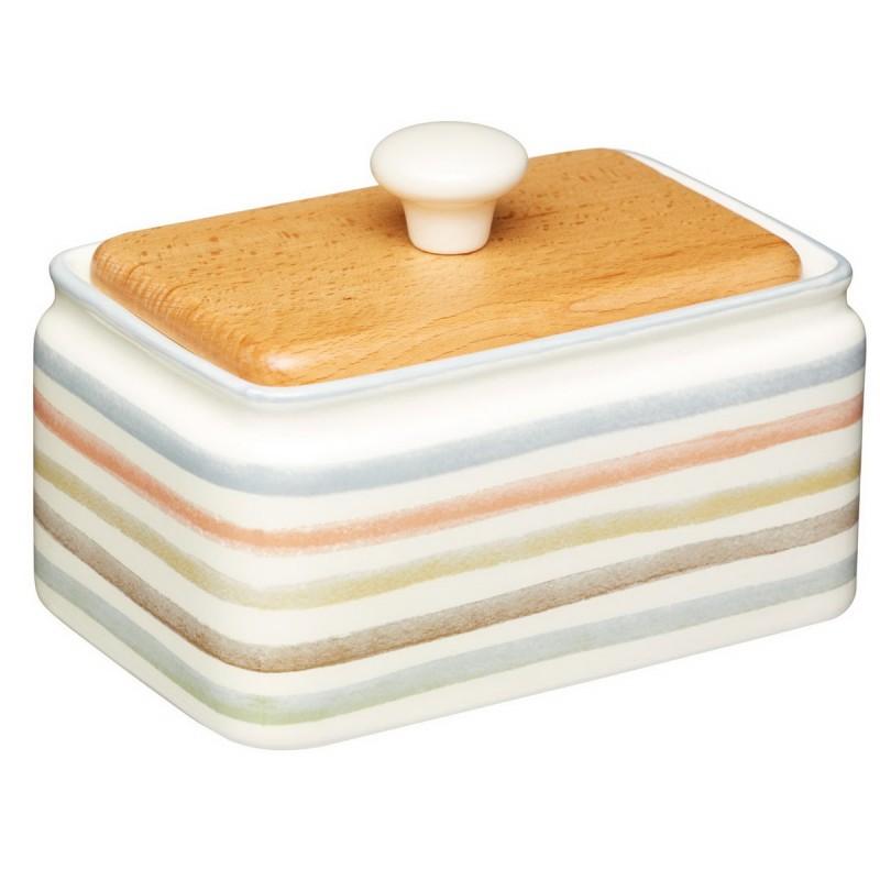 Классик Масленка керамическая с деревянной крышкой 250гр