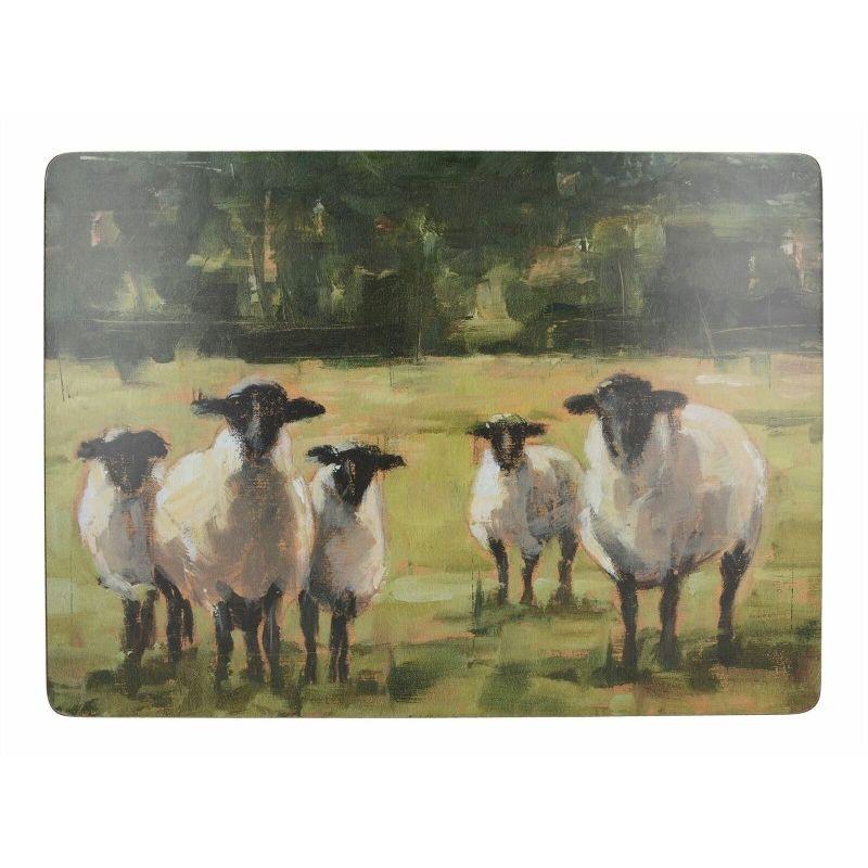 Подставки на пробке большие Овцы на пастбище 40х29 см (4шт)