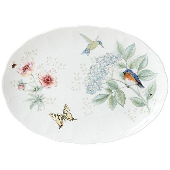 """Блюдо овальное Lenox """"Бабочки на лугу.Птицы"""" 41см"""