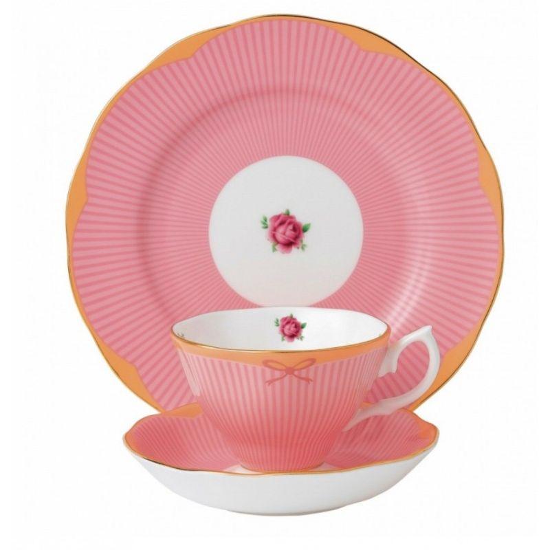 """Чайная тройка """"Сладкие полоски"""" цвет малиновый Royal Albert"""