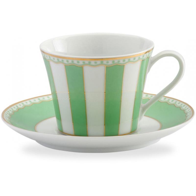 """Чашка чайная с блюдцем 240мл """"Карнавал"""" (зеленая полоска) п/к"""