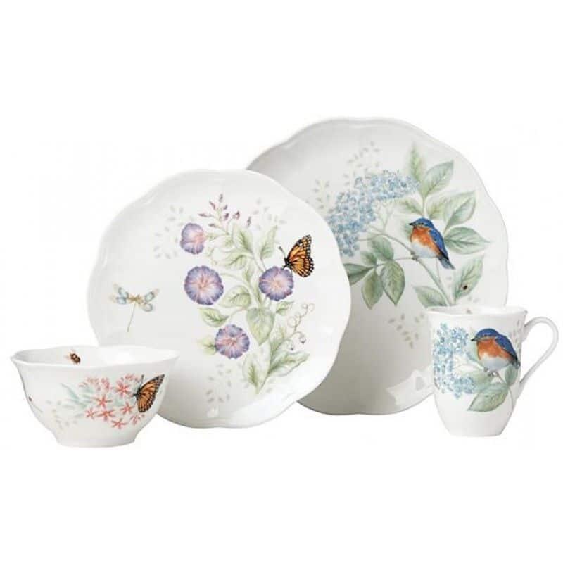 """Сервиз чайно-столовый Lenox """"Бабочки на лугу.Птицы.Синяя птица"""" 4 предмета, на 1 персону"""