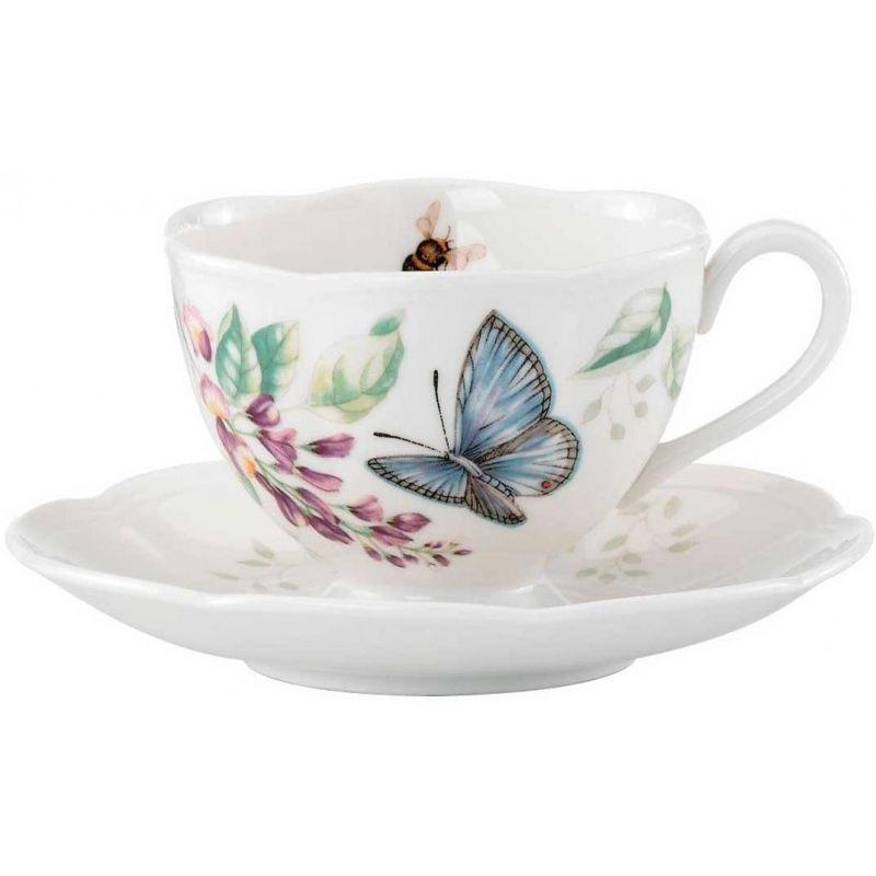"""Чашка чайная с блюдцем Lenox """"Бабочки на лугу"""" 240мл (синяя)"""