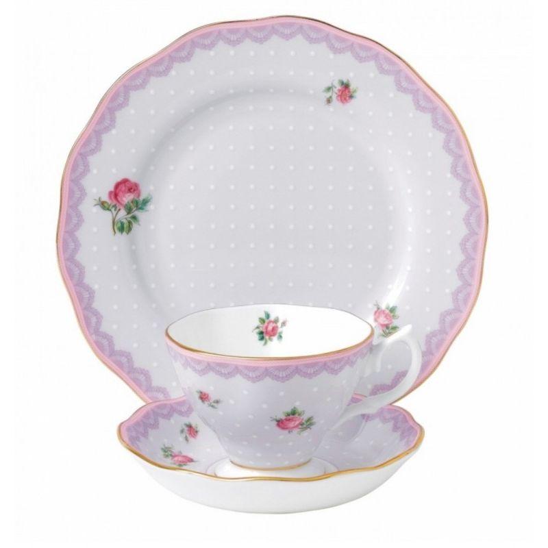 """Чайная тройка """"Сиреневая любовь"""" (чашка, блюдце и тарелка 20 см), цвет сиреневый, Royal Albert"""