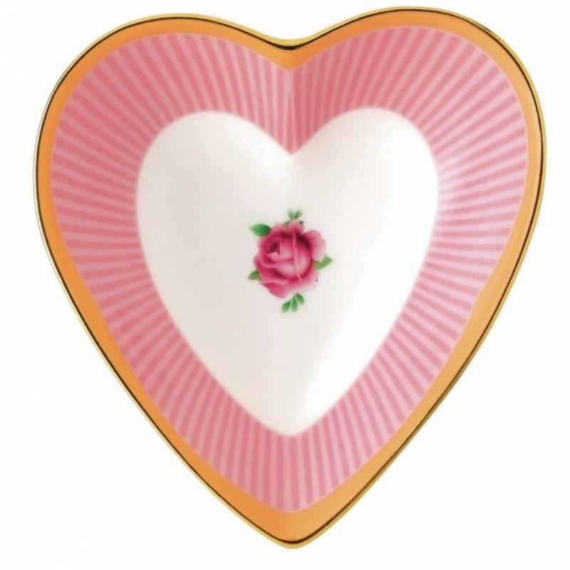 """Блюдце-сердце """"Сладкие полоски"""" 13 см, Royal Albert"""