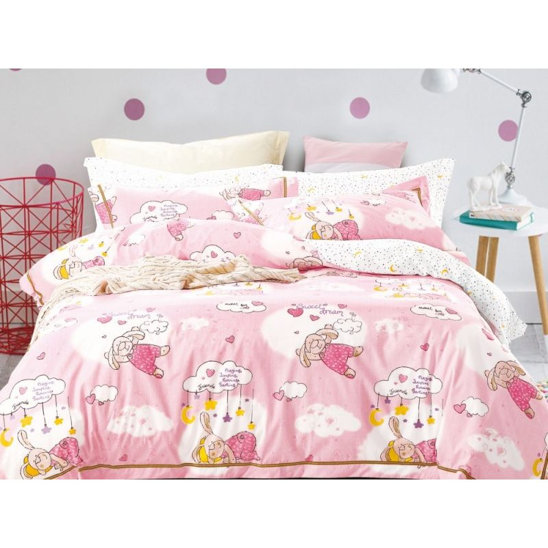 Комплект постельного белья 1,5-спальный, печатный сатин 999-4S