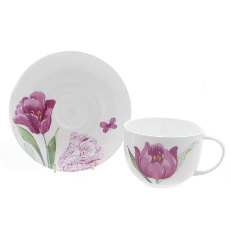 Тюльпаны/Чайная пара для завтрака 400мл