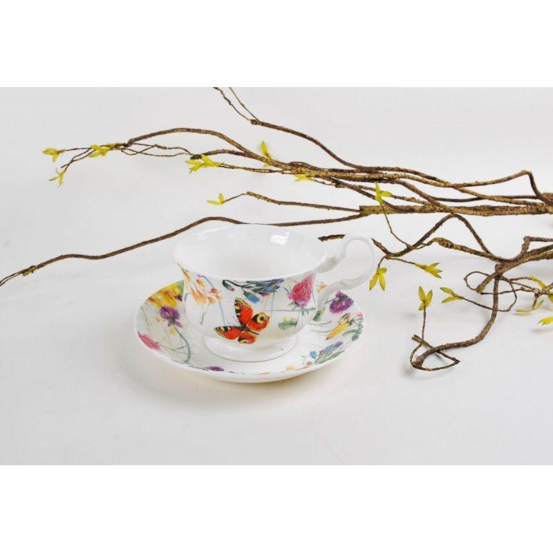 Чайная пара для завтрака Порхающие цветы 400 мл