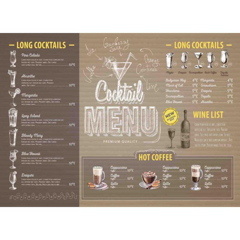 Подставки на пробке Премиальные коктейли 40х29 см(4шт)