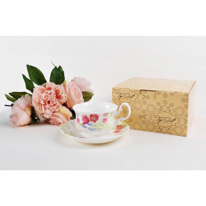 Чайная пара для завтрака Луговые маки акварелью 400 мл