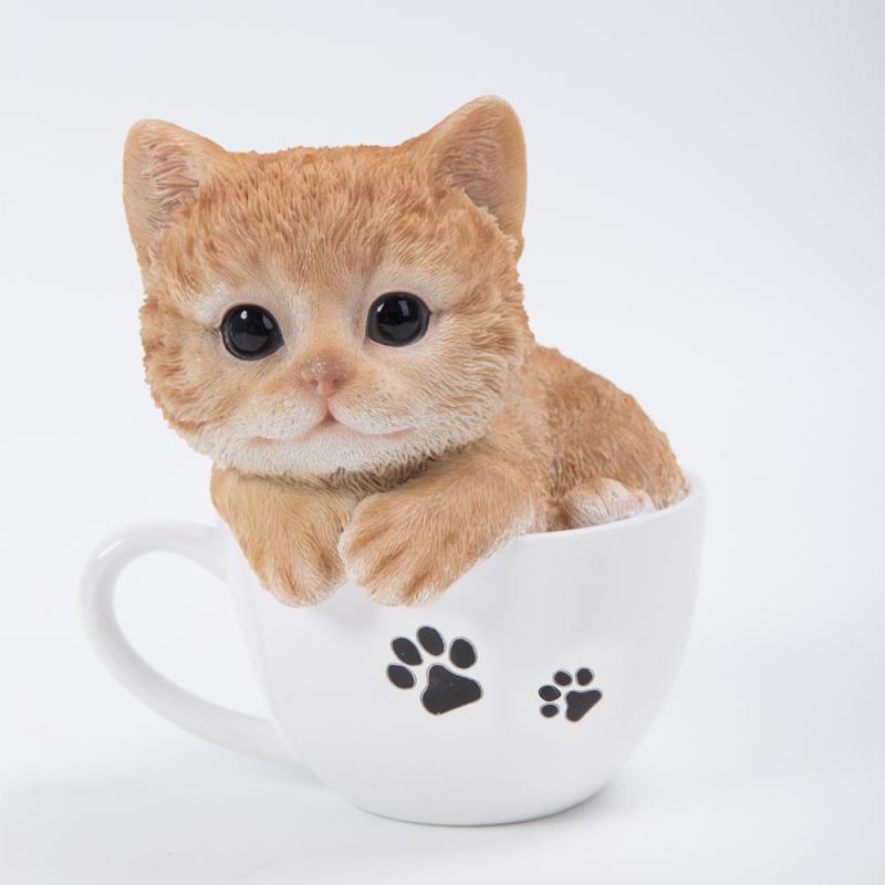 Котенок рыжий в чашке 13*14.5см