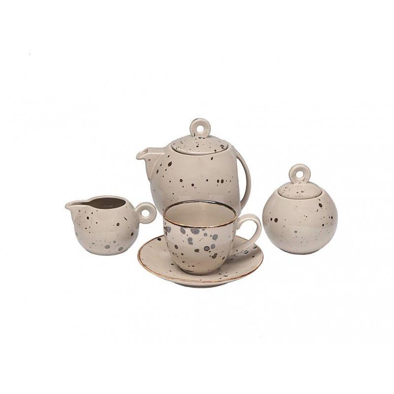 Чайный сервиз Коттедж Браун 15 предметов, 6 персон