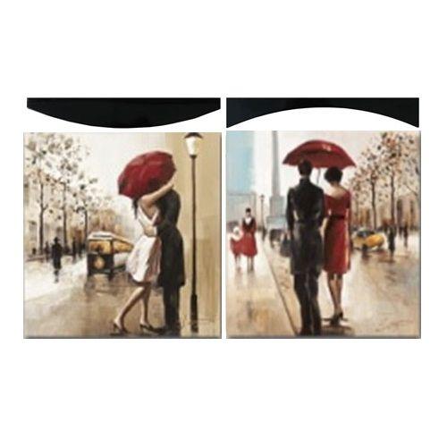 Картина Поцелуй под дождем 58х58 см (пара)