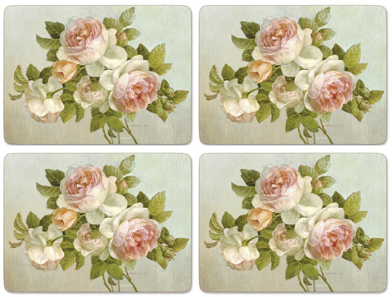"""Подставки на пробке большие """"Цветение роз"""" 40*29 см (4 шт)"""